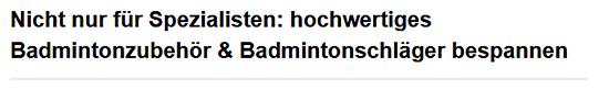 ultra leichte Badmintonschläger in Hamburg